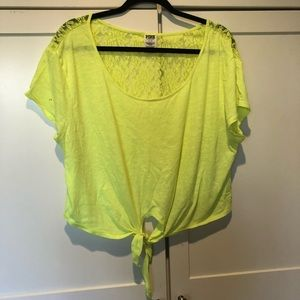 Pink neon yellow bright crop too lace back tie